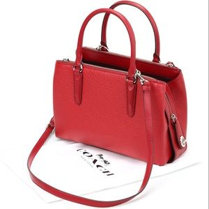 Danier red pebble leather satchel and crossbody